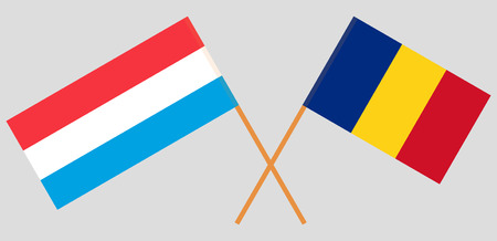 Romania and Luxembourg. The Romanian and Luxembourgish flags. Official proportion. Correct colors. Vector illustration