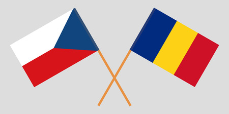 Romania and Czech. The Romanian and Czechia flags. Official proportion. Correct colors. Vector illustration