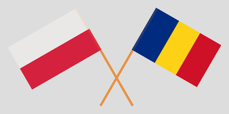 Romania and Poland. The Romanian and Polish flags. Official proportion. Correct colors. Vector illustration