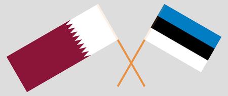 Estonia and Qatar. The Estonian and Qatari flags. Official proportion. Correct colors. Vector illustration