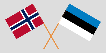 Norway and Estonia. The Norwegian and Estonian flags. Official colors. Correct proportion. Vector illustration