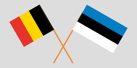 Estonia and Belgium. The Estonian and Belgian flags. Official proportion. Correct colors. Vector illustration Foto de archivo - 124907067