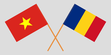 Romania and Vietnam. The Romanian and Vietnamese flags. Official proportion. Correct colors. Vector illustration