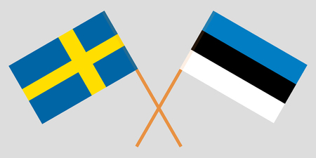 Estonia and Sweden. The Estonian and Swedish flags. Official proportion. Correct colors. Vector illustration