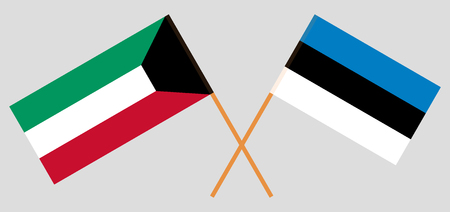 Estonia and Kuwait. The Estonian and Kuwaiti flags. Official proportion. Correct colors. Vector illustration Illustration