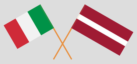 Latvia and Italy. The Latvian and IItalian flags. Official colors. Correct proportion. Vector illustration Illustration
