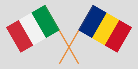 Romania and Italy. The Romanian and Italian flags. Official proportion. Correct colors. Vector illustration