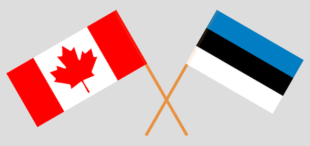 Estonia and Canada. The Estonian and Canadian flags. Official colors. Correct proportion. Vector illustration 일러스트