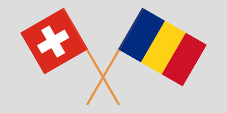 Romania and Switzerland. The Romanian and Swiss flags. Official proportion. Correct colors. Vector illustration Ilustrace
