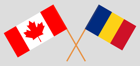 Romania and Canada. The Romanian and Canadian flags. Official proportion. Correct colors. Vector illustration