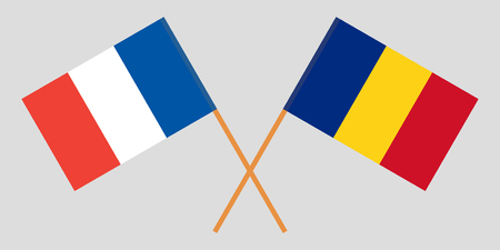 Romania and France. The Romanian and French flags. Official proportion. Correct colors. Vector illustration Foto de archivo - 124907077