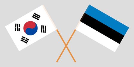 Estonia and South Korea. The Estonian and Korean flags. Official proportion. Correct colors. Vector illustration