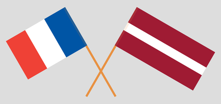 France and Latvia. The French and Latvian flags. Official colors. Correct proportion. Vector illustration