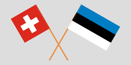 Estonia and Switzerland. The Estonian and Swiss flags. Official proportion. Correct colors. Vector illustration Illustration