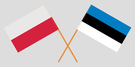 Estonia and Poland. The Estonian and Polish flags. Official proportion. Correct colors. Vector illustration