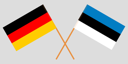 Estonia and Germany. The Estonian and German flags. Official proportion. Correct colors. Vector illustration