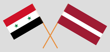 Syria and Latvia. The Syrian and Latvian flags. Official colors. Correct proportion. Vector illustration Illustration