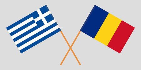 Romania and Greece. The Romanian and Greek flags. Official proportion. Correct colors. Vector illustration
