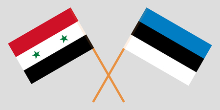 Estonia and Syria. The Estonian and Syrian flags. Official proportion. Correct colors. Vector illustration Illustration