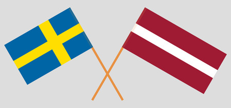 Sweden and Latvia. The Swedish and Latvian flags. Official colors. Correct proportion. Vector illustration Vectores