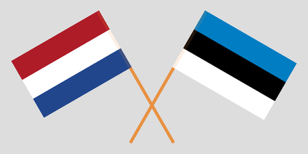 Netherlands and Estonia. The Netherlandish and Estonian flags. Official colors. Correct proportion. Vector illustration 일러스트