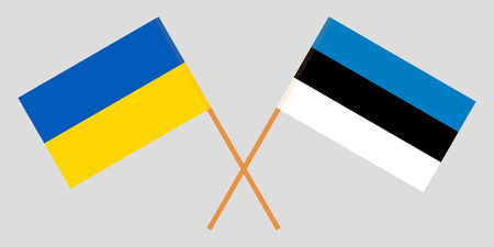 Estonia and Ukraine. The Estonian and Ukrainian flags. Official proportion. Correct colors. Vector illustration