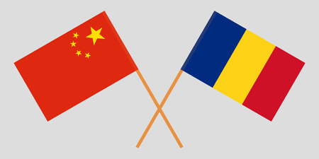 Romania and China. The Romanian and Chinese flags. Official proportion. Correct colors. Vector illustration