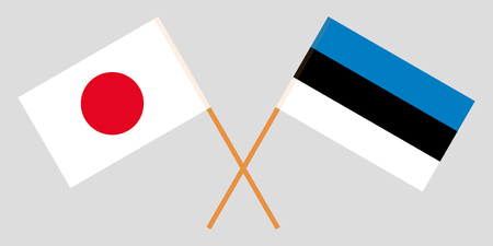 Estonia and Japan. The Estonian and Japanese flags. Official proportion. Correct colors. Vector illustration