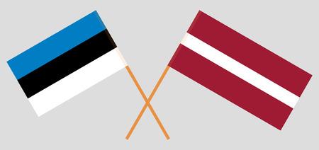 Latvia and Estonia. The Latvian and Estonian flags. Official colors. Correct proportion. Vector illustration Vektoros illusztráció