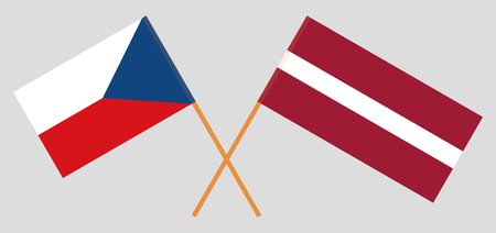 Latvia and Czech Republic. The Latvian and Czech flags. Official colors. Correct proportion. Vector illustration