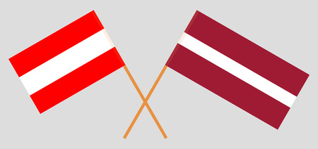 Austria and Latvia. The Austrian and Latvian flags. Official colors. Correct proportion. Vector illustration