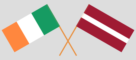 Latvia and Ireland. The Latvian and Irish flags. Official colors. Correct proportion. Vector illustration