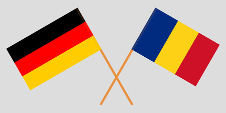 Romania and Germany. The Romanian and German flags. Official proportion. Correct colors. Vector illustration Foto de archivo - 124907093