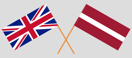 Latvia and UK. The Latvian and British flags. Official colors. Correct proportion. Vector illustration 일러스트
