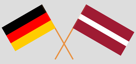 Germany and Latvia. The German and Latvian flags. Official colors. Correct proportion. Vector illustration