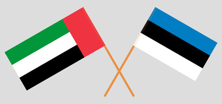Estonia and United Arab Emirates. The Estonian and UAE flags. Official colors. Correct proportion. Vector illustration 일러스트