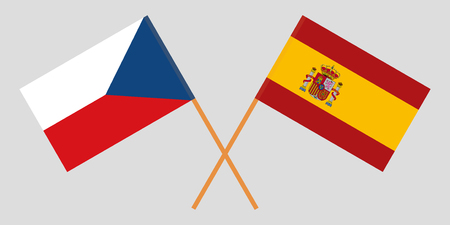 The Spanish and Czech flags. Official proportion. Correct colors. Vector illustration