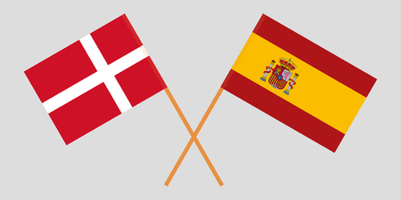 Spain and Denmark. The Spanish and Danish flags. Official proportion. Correct colors. Vector illustration Ilustrace