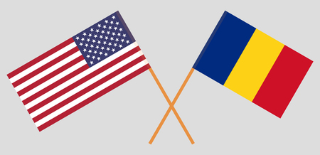Romania and United States of America. The Romanian and USA flags. Official proportion. Correct colors. Vector illustration