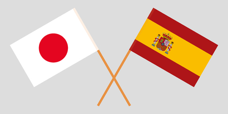 Spain and Japan. The Spanish and Japanese flags. Official proportion. Correct colors. Vector illustration Illustration