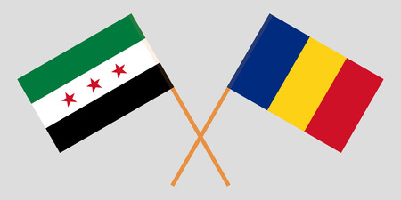 Romania and Syrian National Coalition. The Syria opposition and Romanian flags. Official proportion. Correct colors. Vector illustration