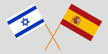 Spain and Israel. The Spanish and Israeli flags. Official proportion. Correct colors. Vector illustration Imagens - 119920481