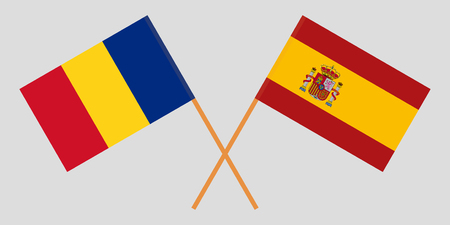Spain and Romania. The Spanish and Romanian flags. Official proportion. Correct colors. Vector illustration