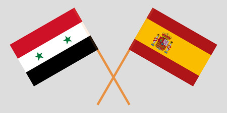 Spain and Syria. The Spanish and Syrian flags. Official proportion. Correct colors. Vector illustration Çizim