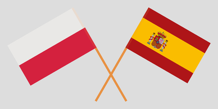 Spain and Poland. The Spanish and Polish flags. Official proportion. Correct colors. Vector illustration