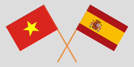 Spain and Vietnam. The Spanish and Vietnamese flags. Official proportion. Correct colors. Vector illustration