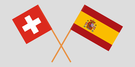 Spain and Switzerland. The Spanish and Swiss flags. Official proportion. Correct colors. Vector illustration