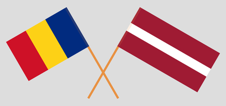 Romania and Latvia. The Romanian and Latvian flags. Official colors. Correct proportion. Vector illustration