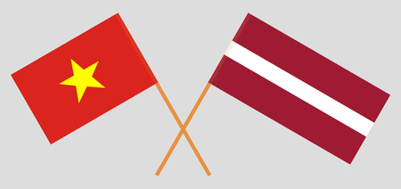 Vietnam and Latvia. The Vietnamese and Latvian flags. Official colors. Correct proportion. Vector illustration