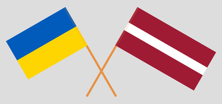 Ukraine and Latvia. The Ukrainian and Latvian flags. Official colors. Correct proportion. Vector illustration